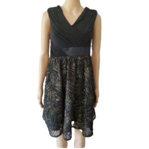 Adriana Papell Black & Gold Midi Dress Size 4P